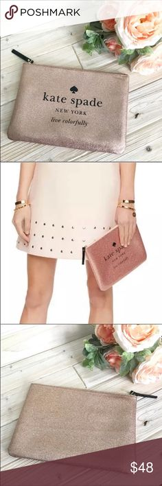 7037d2057c Kate Spade Rose Gold Pink Gia Holiday Drive Clutch Bring your look together  with this casual
