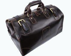 Super Large Vintage Genuine Leather Briefcase/ Travel Bag/ Laptop Bag/ Handbag/ Mens Bag in Vintage Dark Coffee. $145,00, via Etsy.