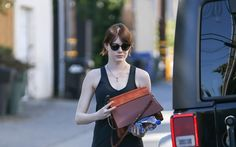 #emmastone wearing #chloe Shoulder bag Feb 2016 #streetstyle from @EmmaStoneDaily's closet #chloé