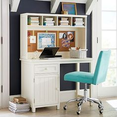 Beadboard Space-Saving Desk + Hutch I can't afford this, but how perfect would this desk be for my office?