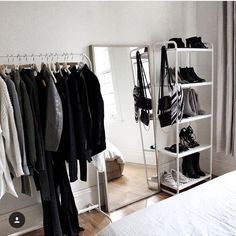 Oct 24 2019 This Pin was discovered by Ryane T. Discover (and save!) your own Minimalist Bedroom Discover discovered Oct Pin Ryane Save Bedroom Storage Ideas For Clothes, Bedroom Storage For Small Rooms, Room Ideas Bedroom, Bedroom Inspo, Bedroom Decor, Clothes Rack Bedroom, Shoe Rack Bedroom, Bedroom Ideas For Men Small, Cheap Bedroom Ideas