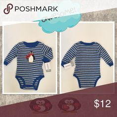 Thermal Penguin Bodysuit Too cute! Blue and gray striped thermal bodysuit with a penguin on the front, 100% Cotton Carter's One Pieces Bodysuits