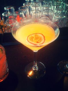 """Gin passion"": gin, vanilla, passion, lemon and some sugar  Made @ KOS Bar & Lounge"