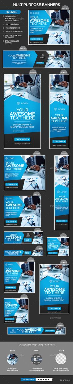 Multipurpose Web Banners Template PSD #design #ads Download: http://graphicriver.net/item/multipurpose-banners/13976535?ref=ksioks
