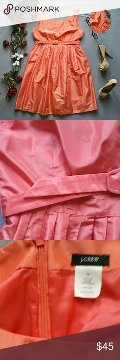 """J. CREW 100% SILK CORAL PLEATED PARTY DRESS *NWOT NEVER WORN NEVER WASHED.  IN LIKE NEW CONDITION. I'M SELLING THIS FOR A FRIEND WHO NEVER GOT THE CHANCE TO WEAR IT & NOW IT NO LONGER FITS *COLOR IS A SOMEWHERE AMONG CORAL/PINK/PEACH *SEE TINY RUN IN THE FABRIC OF THE BELT *ALDO NUDE HEELS SOLD SEPARATELY! BUNDLE AND SAVE!  *SHELL 100% SILK *LINING 100% ACETATE  *DRY CLEAN  *SIDE POCKETS *BACK ZIP  *MEASUREMENTS ARE APPROX & TAKEN LYING *FLAT  *BUST 40"""" *WAIST 35"""" *SHOULDER TO HEM 40.5""""…"""