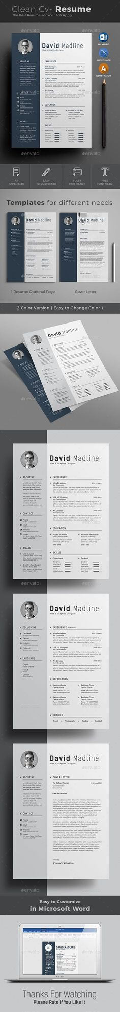 Resume template for MS Word - Resumes - 1 DIY Pinterest Cv - word resumes