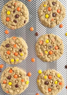 Triple Peanut Butter Monster Cookies - Together as Family Peanut Butter Chips, Peanut Butter Recipes, Peanut Butter Cookies, Chocolate Chip Cookies, Cookie Brownie Bars, Cookie Desserts, Cookie Recipes, Soft Monster Cookies, Cookie Monster