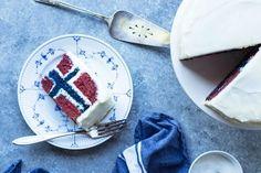 Norwegian Flag Cake | Sons of Norway Blue Velvet Cakes, Blue Cakes, Round Cake Pans, Round Cakes, Norwegian Flag, Norwegian Style, Circle Cake, Flag Cake, Red Cake