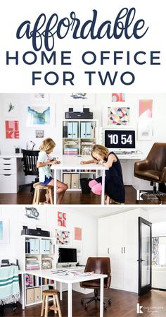 Home Office Makeover & Craft Room Reveal This home office ma. Home Office Makeover & Craft Room Reveal This home office makeover was done on Home Office Design, Home Office Decor, Diy Home Decor, Office Ideas, Office Set, Room Decor, Feminine Home Offices, Home Office Organization, Organizing School