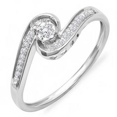Share and get $20 off your order of $100 or more. 0.15 Carat (ctw) 10k White Gold Round Diamond Ladies Swirl Promise Engagement Ring - Dazzling Rock #https://www.pinterest.com/dazzlingrock/