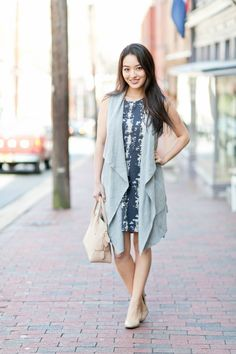 Love this whole outfit, @sensiblestylist! Pairing this Stitch Fix dress with a sleeveless vest works so well.