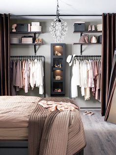 Debbie: I like the open closet for main house. Considering on locker room design in a small space bedroom could be a hard problem to solve. You should find ideas and inspirations on it carefully. Closet Designs, New Room, Interior Design, Room Interior, Interior Doors, Diy Interior, Apartment Interior, Studio Apartment Furniture, Interior Logo