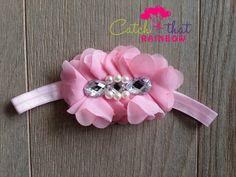 Pink flower headband baby headband ballet pink by catchthatrainbow