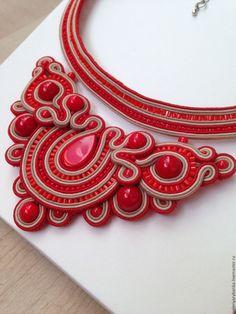 Купить Сутажное колье - ярко-красный, сутажные украшения, сутажное колье, красное колье, колье