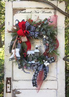 Christmas Wreath Wreath with Skates Christmas Door Decor Western Christmas, Christmas Love, Outdoor Christmas, Primitive Christmas, Country Christmas, Christmas Snowman, Christmas Christmas, Christmas Mesh Wreaths, Christmas Door Decorations
