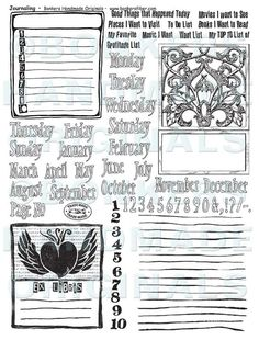 """Journaling Rubber Stamp Sheet by Traci Bunkers on Etsy, $27.00. (Traci is the author of the awesome CJ (creative journaling) book """"The Art Journal Workshop"""")   :)"""