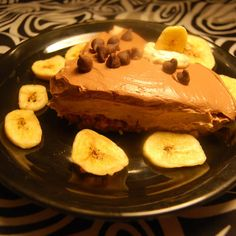 LAYERED PEANUT BUTTER AND CHOCOLATE PIE WITH BANANA CHIP CRUST  vegan, plantbased, earth balance, made just right
