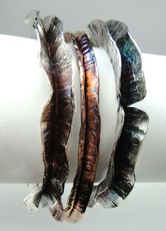 Fold Formed Wave Bangles, Robyn Cornelius, Little Rock Jewellery Studio, Sterling Silver, Liver of Sulfur Patina