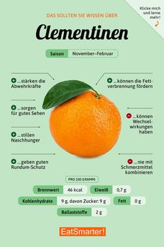 Healthy Clementines with valuable ingredients. Explained in the EAT SMARTER-goods customer. Diet And Nutrition, Complete Nutrition, Proper Nutrition, Nutrition Guide, Healthy Life, Healthy Living, Alkaline Diet, Food Facts, Eat Smarter