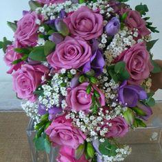 lilac pink bridal spray