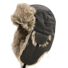 Amazon.com: City Hunter W300 Premium Wool Trapper Hats - Gray: Clothing