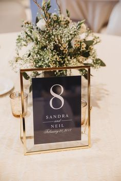 Black Gold Wedding Elegant gold framed table numbers with black paper and white writing - Gold Wedding Centerpieces, Wedding Reception Tables, Wedding Table Centerpieces, Wedding Table Numbers, Ceremony Decorations, Wedding Ceremony, Centerpiece Ideas, Black Wedding Decor, Wedding Reception Decorations Elegant