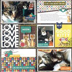 Cute & Cuddly Cat layout by designer Kristine Davidson featuring Jillibean Soup Fur Fusion Dog Scrapbook, Scrapbook Quotes, Pocket Scrapbooking, Scrapbook Page Layouts, Scrapbook Cards, Scrapbooking Ideas, Scrapbook Generation, Cat Cards, Making Ideas