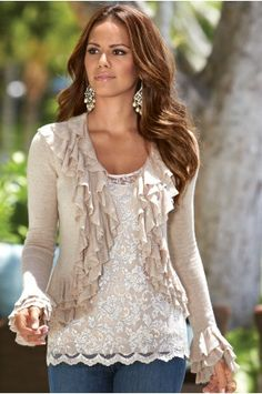 White lace tank top and beige cardigan with ruffles (Boston Proper)
