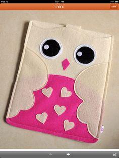 Owl felt tablet case