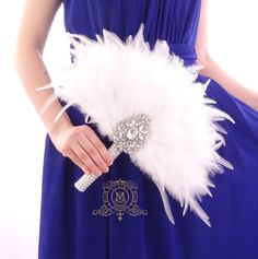 Bridesmaids Feather Fan Silver bouquet Bridal alternative Ostrich Feather Fan Bridal Bouquet Ivory Great Gatsby wedding style by MemoryWedding on Etsy