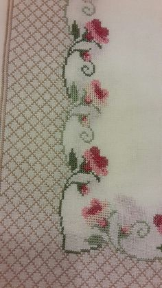 Lovely floral cross stitch embroidered tablecloth in linen Cross Stitch Tree, Cross Stitch Borders, Cross Stitch Kits, Cross Stitch Designs, Cross Stitching, Cross Stitch Embroidery, Hand Embroidery, Cross Stitch Patterns, Embroidery Designs