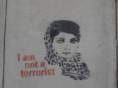 I'm not a terrorist. Arab Swag, Iranian Art, Political Art, Visual Diary, Stencil Designs, Dire, Banksy, Public Art, Urban Art