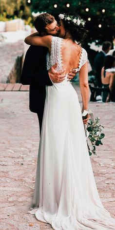 21 Fantastic Lace Beach Wedding Dresses Wedding Dresses Guide is part of Lace beach wedding dress - Lace beach wedding dresses feature light fabrics, perfect for a ceremony in the sand These 15 dresses are sure to give you some inspiration Wedding Robe, Lace Beach Wedding Dress, Modest Wedding Dresses, 15 Dresses, Beach Dresses, Wedding Gowns, Lace Wedding, Lace Dress, Wedding Beach