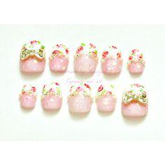 Hime gyaru, Japanese nail art, pink, floral, sweet lolita, bows,... ($20) ❤ liked on Polyvore