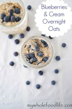 Make a healthy breakfast ahead of time with this Blueberries and Cream Overnight Oats recipe. Super easy and there is no cooking required! Vegan