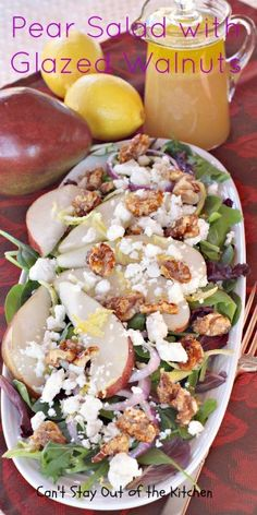 Pear Salad with Glazed Walnuts - exotic, gourmet-type salad with a lemony vinaigrette dressing.