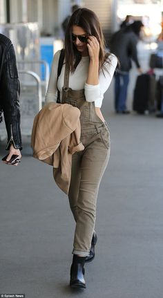 Emily Ratajkowski.. Free People overalls, and Karen Walker Harvest Sunglasses in Crazy Tort..