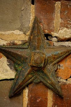 #Star...tarnished and rusted. and beautiful....... It is my understanding that these were used in the attics of homes in the pas.   A bar ran between one on each side of the house... to prevent walls from collapsing as the house settled over the years,