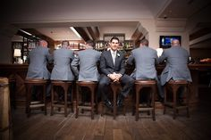 Different shot of the groom and his groomsmen, who are in dark grey groomsmen suits Wedding Photography Poses, Wedding Poses, Wedding Suits, Food Photography, Dark Gray Suit, Grey Suit Men, Grey Suits, Dark Grey Groomsmen, Groom And Groomsmen