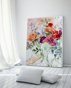 Original Oil Painting Flower Print Canvas by ForestSandandAir