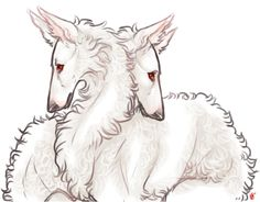 Twin hyper-intelligent canine creatures, special because they're twins and because they're albinos. Capable of understanding human speech, can be given complex instructions. Rare species, considered sacred and emissaries of divinely ordained rulers. Said rulers task the creatures with carrying their decrees and messages. Once given instruction, they can travel fast and far to fulfill their duty. -- I think your meant to say, two VERY GOOD PUPPIES!!! - Melochir and Mercedes