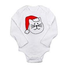 Happy Santa Cat Long Sleeve Infant Bodysuit > Happy Cat Christmas > DesignCats