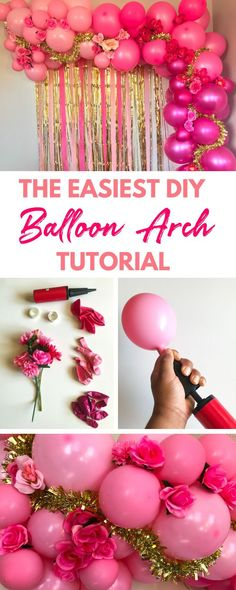 Learn how to make a pink balloon arch without helium in under two hours that your guests will love with my easy step by step tutorial. Pink Balloons, Confetti Balloons, Wedding Balloons, Birthday Balloons, Balloon Decorations, Birthday Party Decorations, 1st Birthday Parties, Cheap Party Decorations, Balloon Arch Diy