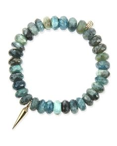 8mm Faceted Shade Moss Aqua Beaded Bracelet with 14k Gold/Diamond Spike Charm by Sydney Evan at Neiman Marcus.