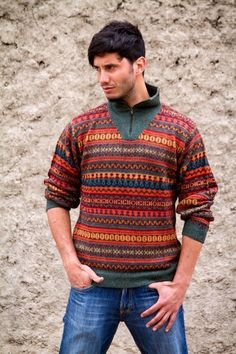 8dd20218b00678 Shop for Handmade Men's Alpaca 'Mountain Sunset' Sweater (Peru). Get free  delivery at Overstock - Your Online Men's Clothing Shop!