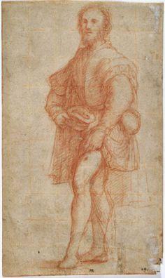 Pordenone (Giovanni Antonio de Sacchis), Italian, 1483/4–1539, Standing Saint Roch, ca. 1525–26. Red chalk on cream laid paper, squared in red chalk, 26.3 x 15.6 cm. (10 3/8 x 6 1/8 in.). Bequest of Dan Fellows Platt, Class of 1895