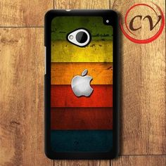 Colored Wood Apple HTC One M7 Black Case