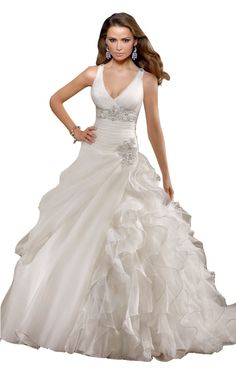 Biggoldapple Ball Gown V-neck Court Train Wedding Dress