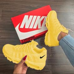 "Shop Women's size Sneakers at a discounted price at Poshmark. Description: Nike W Air Max ""Mustard""New Arrival Original Full Palm Air Cushion Running Shoes For Men/Women Yellow Light Sneakers. Moda Sneakers, Cute Sneakers, Shoes Sneakers, Yellow Sneakers, Shoes Heels, Yellow Trainers, Yellow Nikes, Nike Shoes Outfits, Sneakers Adidas"