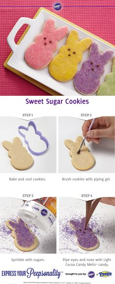 How to make Peeps Sugar Cookies from @Wilton Cake Decorating | Find Wilton products at Joann.com Easter Cookies, Fun Cookies, Easter Treats, Holiday Cookies, Sugar Cookies, Decorated Cookies, Minion Cookies, Baking Cookies, Wilton Cake Decorating